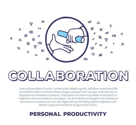 Vektor kreative Illustration der Hände und Staffelstab mit Wort Typografie und Wolke Linie Symbole auf weißem Hintergrund. Business-Collaboration-Schablone. Thin Line-Art-Stil-Konzept-Design für die Erfüllung Zusammenarbeit