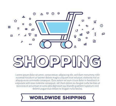 safety slogan: Vector creative illustration of shopping trolley with word typography and cloud of line icons on white background. On line payment technology template. Thin line art style concept design for web, site, print Illustration