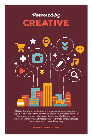 multi story: Vector creative colorful illustration of modern city with icons of daily activity, header powered by creative and text on brown background. City infographic poster template. Flat style design for modern city infographic theme