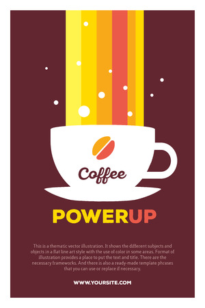 take charge: Vector creative colorful illustration of cup of coffee and rainbow with header coffee power up and text on brown background. Coffee break poster template. Flat style design for coffee time theme