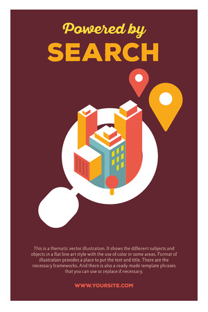 powered: Vector creative colorful illustration of magnifier with city and header powered by search, text on brown background. Technology search poster template. Flat style design for city search engine theme
