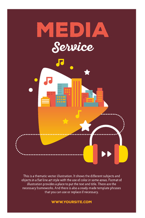 Vector creative colorful illustration of modern bright big city within play shape, headphones, with header media service and text on brown background. Media service poster template. Flat style design for sounds of the big city theme Illustration