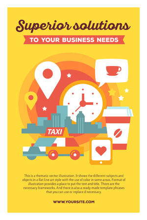 specify: Vector creative colorful illustration of modern city taxi service with business header and text on yellow background. Taxi service poster template. Flat style design for urban daily life theme