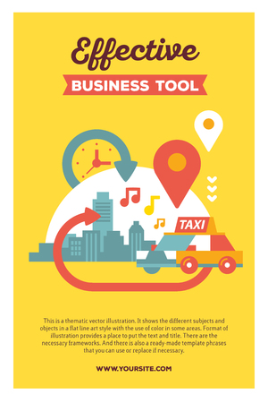 Vector creative colorful illustration of modern city taxi service with header and text on yellow background. Taxi service poster template. Flat style design for busy urban daily life theme Illustration