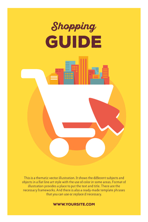 multi story: Vector creative colorful illustration of shopping in the big city with header shopping guide and text on yellow background. On line shopping poster template. Flat style design for on line web shopping theme