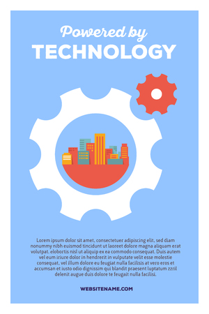 multi story: Vector creative colorful illustration of rotating gears with city and header powered by technology, text on blue background. Technology poster template. Flat style design for city technology theme Illustration