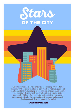 Vector creative colorful illustration of modern bright big city within star shape with header stars of the city and text on blue background. Favorite place poster template. Flat style design for favorite city theme Illustration