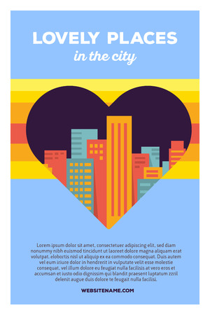 Vector creative colorful illustration of modern bright big city within heart shape with header lovely places in the city and text on blue background. Favorite place poster template. Flat style design for favorite city theme Illustration