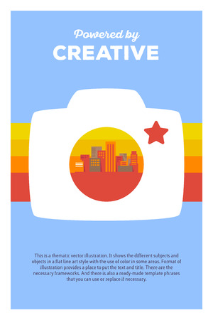 Vector creative colorful illustration of photo camera, city and rainbow with header powered by creative and text on blue background. Photo camera poster template. Flat style design for review photo camera theme