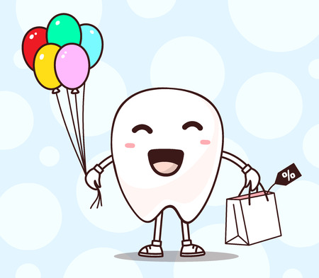 happy shopper: illustration of smile white tooth with shopping package, air balloons in hand on blue background. Creative cartoon tooth dentistry concept. Doodle style. Thin line art flat design of shopping character tooth