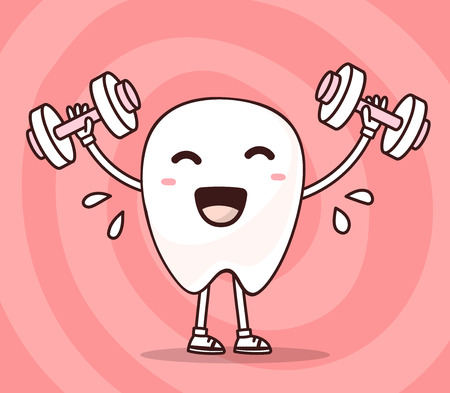 illustration of smile white tooth lifts dumbbells on pink background. Fitness cartoon tooth, dentistry concept. Doodle style. Thin line art flat design of character tooth for sport strong sturdy teeth