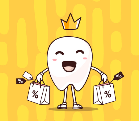 illustration of smile white tooth with  crown, shopping package in hands on yellow background. Creative cartoon tooth dentistry concept. Doodle style. Thin line art flat design of shopping character tooth