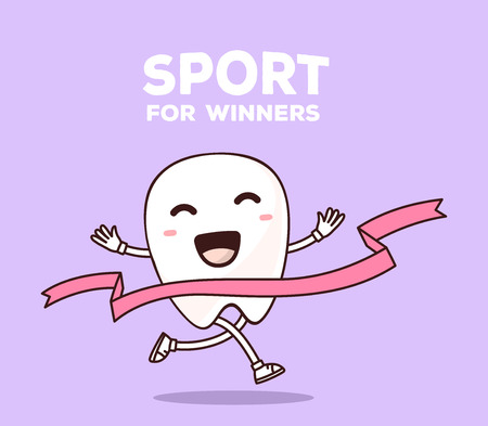 sports symbols metaphors: illustration of smile white tooth with hands running through the tape to win on purple background. Creative cartoon tooth dentistry concept. Doodle style. Thin line art flat design of character tooth for sport win