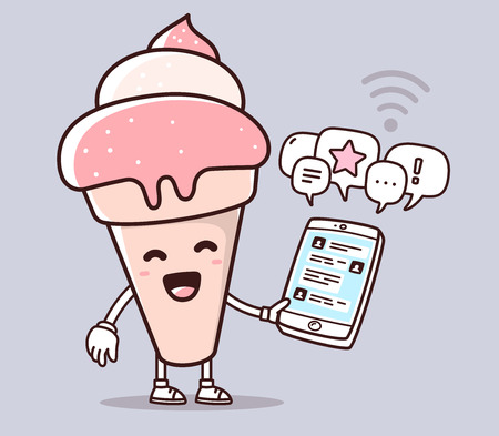 illustration of pink color smile ice cream holding phone on purple background. Chatting cartoon concept. Doodle style. Thin line art flat design of character ice cream for mobile communication theme Illustration