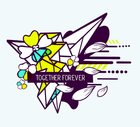 t shirt white: Vector illustration of colorful blue and yellow abstract composition with flower and text together forever in a black frame on white background. Flat line art design for web, site, poster, greeting card, t-shirt, print Illustration