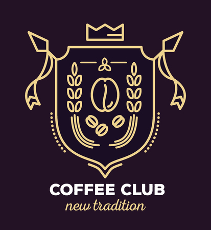 citadel: Vector linear heraldry coat of arms. Vintage royal heraldic shield with crown, coffee bean and ears of wheat on dark background. Thin line art design for logo, badge, web, site, banner Illustration