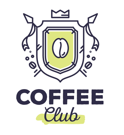 Vector linear green heraldry coat of arms with flags. Vintage royal heraldic shield with crown and coffee bean on white background with title coffee club. Thin line art modern design for logo, badge, web, site, banner Illustration