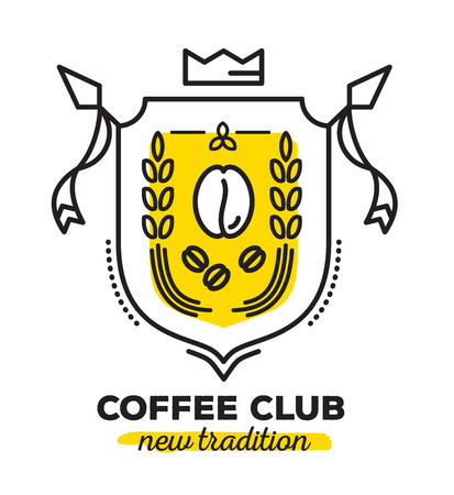 Vector linear heraldry coat of arms with yellow color. Vintage royal heraldic shield with crown, coffee bean and ears of wheat on white background. Thin line art design for logo, badge, web, site, banner