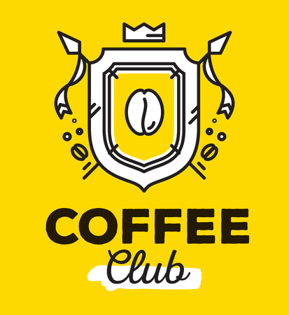 Vector linear heraldry coat of arms with flags. Vintage royal heraldic shield with crown and coffee bean on yellow background with black title coffee club. Thin line art modern design for logo, badge, web, site, banner Illustration