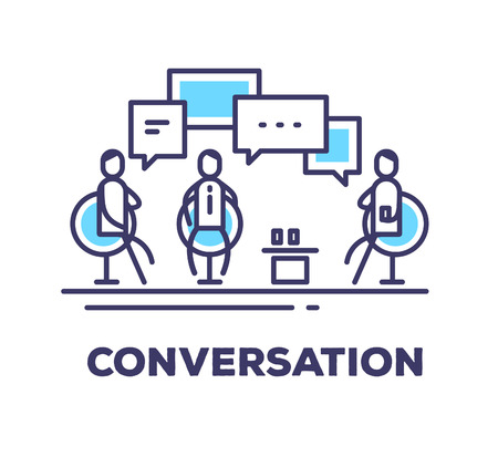 collaborator: Vector business illustration of men sitting in chairs in the meeting room and talking on white background with title. Conversation creative linear concept. Flat thin line art style design for web, site, banner, poster, board