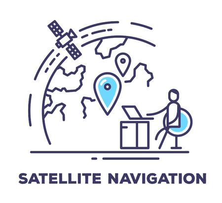 satellite navigation: Vector business illustration of a man sitting in a chair next to the large screen with planet on white background with title. Satellite navigation creative linear concept. Flat thin line art style design for web, site, banner, poster, board Illustration
