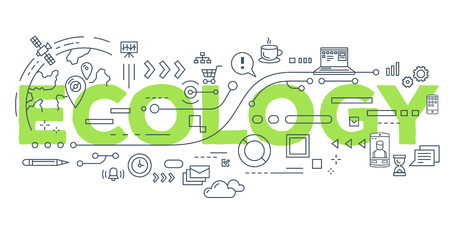 Ecology Vector creative illustration of ecology word lettering typography with line icons on white background. Ecological concept. Thin line art style design for business idea theme website banner Illustration