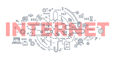Graphic Vector creative illustration of internet word lettering typography with line icons on white background. Networking concept. Thin line art style design for business idea theme website banner Ilustração