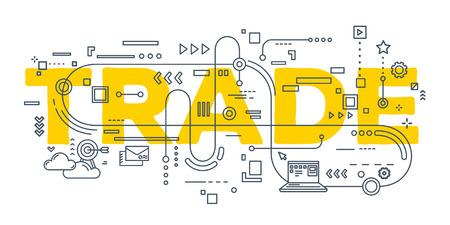 Trade Vector creatieve illustratie van de handel woord belettering typografie met lijn iconen op een witte achtergrond. Wereldhandel concept. Dunne lijn art stijl ontwerp voor site, web, banner, poster