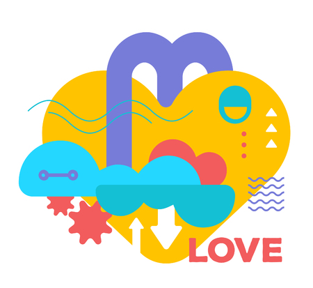Vector illustration of bright creative abstraction on white background with word love. Romantic colorful abstract concept. Flat art style design for web, site, advertising, banner, poster, card