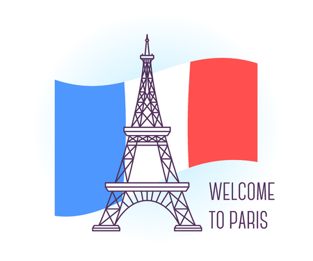 french culture: Vector illustration of Eiffel Tower. Paris landmark. Symbol of France. Sight-seeing of Europe. Thin line art design on light background with national flag and text for card, web, site, tourist banner