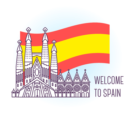가톨릭 성당의 벡터 일러스트 레이 션. 바르셀로나 랜드 마크. 스페인의 상징입니다. 유럽의 시력. 빛 배경에 얇은 라인 아트 디자인 국기 및 텍스트에  일러스트