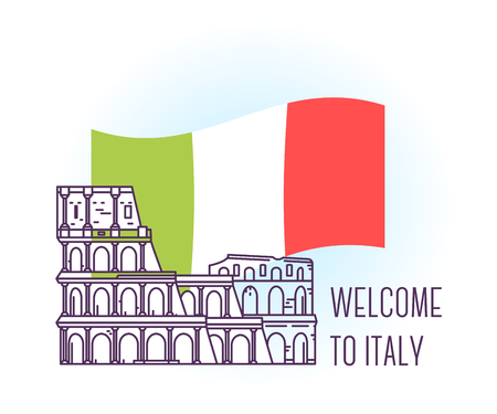 Vector illustration of coliseum. Rome landmark. Symbol of Italy. Sight-seeing of Europe. Thin line art design on light background with national flag and text for card, web, site, tourist banner Ilustração