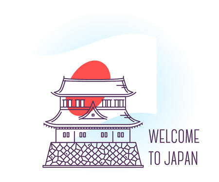 Vector illustration of Imperial Palace. Tokyo landmark. Symbol of Japan. Sight-seeing of Asia. Thin line art design on light background with national flag and text for card, web, site, tourist banner Illustration