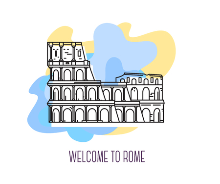 Vector illustration of coliseum. Rome landmark. Symbol of Italy. Sight-seeing of Europe. Thin line art design on abstract blue and yellow background with text for card, web, site, tourist banner Stok Fotoğraf - 76422810