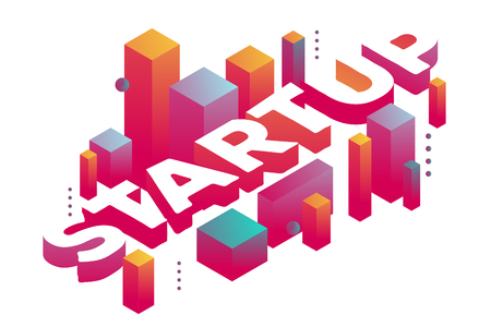 Vector illustration of three dimensional word startup with abstract colorful shapes on white background. Startup business technology concept. 3d style design for web, site, banner, presentation