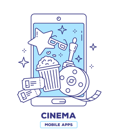 Vector Creative illustration of mobile phone with popcorn, movie tickets, bobina film, award statuette on white background. Event cinema application concept with heading. Thin line art flat design of cinema guide mobile app for web, site, banner Illustration