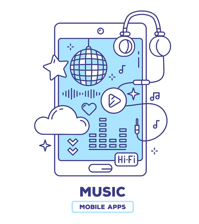 Vector Creative illustration of mobile phone with headphones, play button, cloud, disco ball on white background. Music player application concept with heading. Thin line art flat design of music mobile app for web, site, banner Illustration