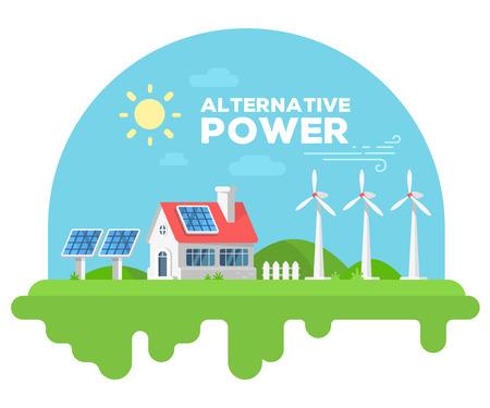 煙突と緑の芝生のフェンス付きの美しい家のベクター イラストです。風車と白い背景の上の太陽電池パネルと代替エネルギー ソースのコンセプトで