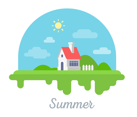 inscriptions: Vector seasonal illustration of beautiful house with chimney and fence on green grass. Summer season concept with sun on white background. Family suburban home. Flat style design for web, site, banner, poster