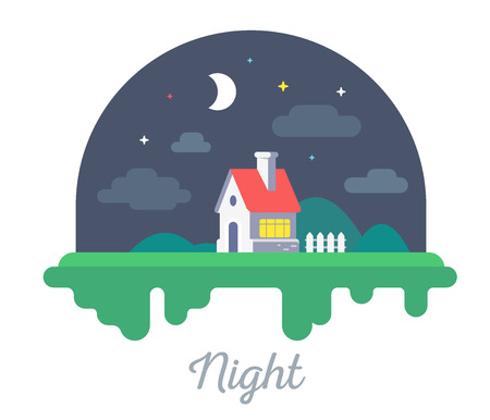 Vector beautiful illustration of  house with chimney and fence on green grass. Night countryside concept with dark sky, stars and  clouds on white background. Flat style design for web, site, banner, poster