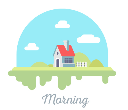 Vector beautiful illustration of  house with chimney and fence on green grass. Morning countryside concept with blue sky and clouds on white background. Flat style design for web, site, banner, poster