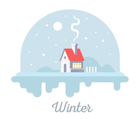 Vector illustration saisonnière de maison douce avec cheminée et fumée. Concept de saison d'hiver avec des flocons de neige sur fond blanc. Conception de style plat pour web, site, bannière, carte de voeux de Noël