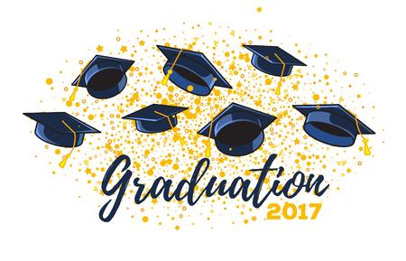 Ilustración vectorial de sombreros de graduado y confeti sobre un fondo blanco. Gorras levantadas. La enhorabuena gradúa la clase 2017 de graduaciones. Diseño de felicitación, banner, tarjeta de invitación para la fiesta de graduación con sombrero, letras Foto de archivo - 80980717