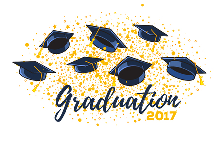 Vector illustration of graduate caps and confetti on a white background. Caps thrown up. Congratulation graduates 2017 class of graduations. Design of greeting, banner, invitation card for the graduation party with hat, lettering Illustration
