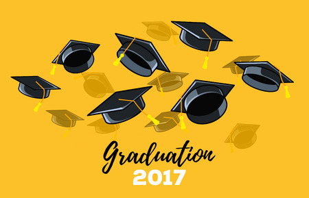 Vector illustration of black graduate caps on a yellow background. Caps thrown up. Congratulation graduates 2017 class of graduations. Design of greeting, banner, invitation card for the graduation party with hat, lettering
