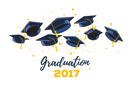 Vector illustration of black graduate caps and yellow confetti on a white background. Congratulation graduates 2017 class of graduations. Caps thrown up. Design of greeting, banner, invitation card for the graduation party with hat, lettering Illustration