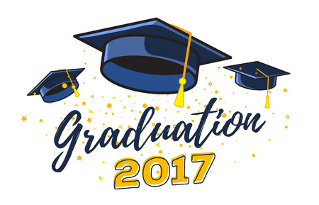 Vector illustration of black graduate caps with confetti on a white background. Congratulation graduates 2017 class of graduations. Caps are flying up. Design of greeting, banner, invitation card for the graduation party with hat, lettering
