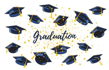 Vector illustration of many graduate caps and confetti on a white background with text. Congratulation graduates. Caps thrown up. Design of greeting, banner, invitation card for the graduation party with hat