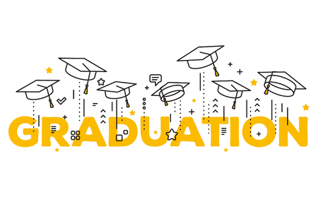Vector illustration of word graduation with graduate caps on a white background. Caps thrown up. Congratulation graduates 2017 class of graduations. Line art design of greeting, banner, invitation card for the graduation party with hat