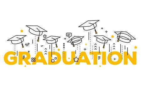 Vectorillustratie van woordgraduatie met gediplomeerde kappen op een witte achtergrond. Caps op de grond. Felicitatie afgestudeerden 2017 klasse van afstudeerders. Lijn kunst ontwerp van groet, banner, uitnodigingskaart voor de afstuderen partij met hoed Stock Illustratie